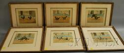 C.R. Stock (British, 19th Century), After Henry Alken (British, 1785-1851)      Lot of Six Prints: Cock Fighting, Plates 1 to 6.