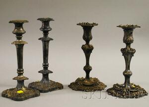 Pair of Tiffany Silver Soldered Rococo-style Silver-plated Candlesticks
