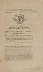 Acts and Laws Passed by the Great and General Court or Assembly of the Colony of the Massachusetts-Bay in New-England.