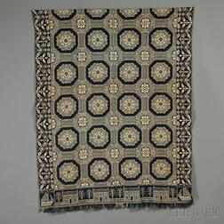 Woven Wool and Cotton Coverlet with Sailboat Corner Blocks