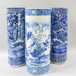 Three Asian Export Blue and White Umbrella Stands