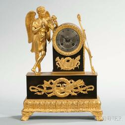 Patinated and Gilt-bronze Figural Mantel Clock