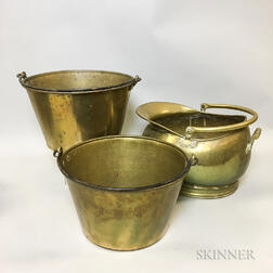 Two Brass Sap Buckets and a Brass Coal Hod