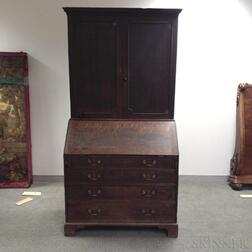 George III Oak Desk/Bookcase
