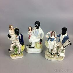 Three Staffordshire Uncle Tom Ceramic Figural Groups
