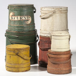 Stack of Seven Painted Firkins