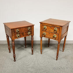 Two Classical Tiger Maple and Mahogany Worktables