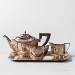 Diminutive Four-piece German .800 Silver Tea Service