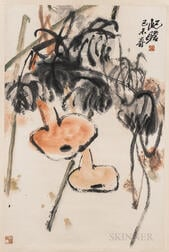 Hanging Scroll Depicting a Gourd Vine