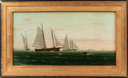 American School, Late 19th Century      Ships Leaving Harbor