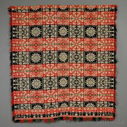 Three-color Woven Wool and Cotton Tied Beiderwand Coverlet with Alphabet Motif