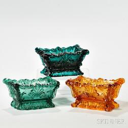Three Pressed Glass Shell Pattern Open Salts