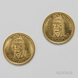 Two Caciques de Venezuela Gold Tokens.     Estimate $100-200
