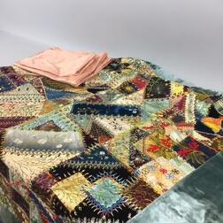 Silk and Velvet Crazy Quilt and Two Silk Fragments