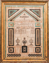 "Watercolor ""Bowker"" Family Record"