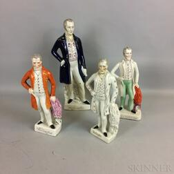Four Large Staffordshire Duke of Wellington Ceramic Figures