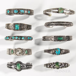 Ten Navajo Silver and Turquoise Bracelets