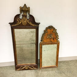 Two Early English Carved and Gilt Walnut and Mahogany Mirrors