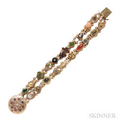 14kt Gold Gem-set Slide Bracelet