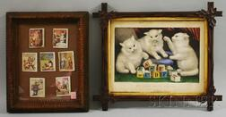Tramp Art Notch-carved Frame with Miniature Childrens Books and a Victorian Walnut Framed Currier & Ives Lithograph My Three White ...