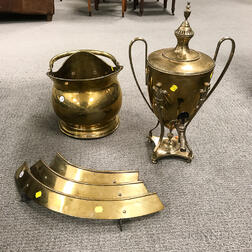 Brass Hot Water Urn, Coal Hod, and Fender.     Estimate $20-200