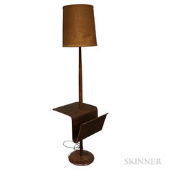Teak Floor Lamp with Integrated Table and Magazine Rack