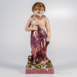Large Pink Lustre Figure of a Cherub