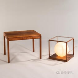 Jens Risom Side Table and an Illuminated Globe Side Table