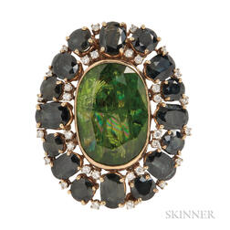 14kt Gold, Peridot, Tourmaline, and Diamond Clip Brooch