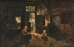 Jan Derk Huibers (Dutch, 1829-1919)      Mother and Child with Flowers in a Barn Interior
