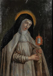 Continental School, 16th Century Style      St. Clare of Assisi Holding a Monstrance with the Consecrated Host