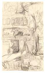 Édouard Vuillard (French, 1868-1940)      Sketchbook Page of Interior with Foreground Wine Bottle