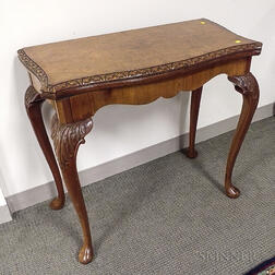 Queen Anne-style Walnut and Burl Veneer Card Table