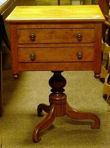 Classical Cherry Two-Drawer Pedestal Work Table.