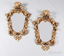 Pair of Continental Baroque-style Giltwood Carved Mirrors