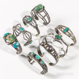 Eight Navajo Silver and Turquoise Bracelets