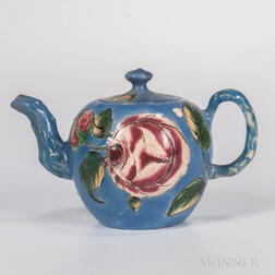 Staffordshire Salt-glazed Stoneware Enameled Teapot and Cover