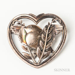 Georg Jensen & Wendel Sterling Silver Bird Brooch