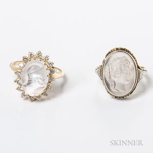 Two 14kt Gold and Carved Moonstone Rings