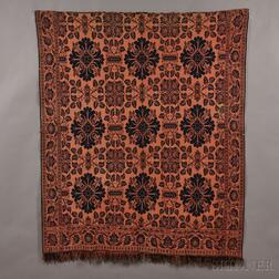 "Three-color Woven Wool ""Year 1850"" Coverlet"