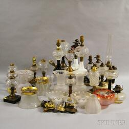 Group of Brass and Glass Fluid Lamps, Shades, and Parts