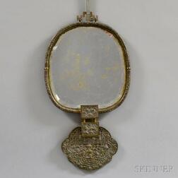 Japanese Repousse and Engraved Brass Mirror