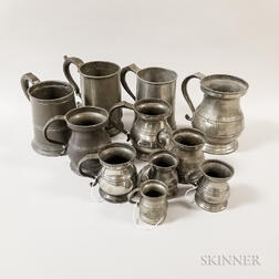 Eleven Graduated Pewter Measures