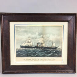 Framed Currier & Ives Print The Steamship Scynthia