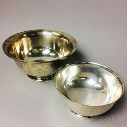 Two Sterling Silver Reproduction Revere Bowls