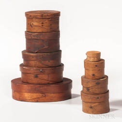 Nine Miniature Oval and Round Pantry Boxes