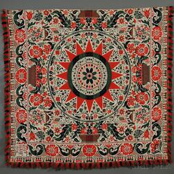 Three-color Woven Wool and Cotton Coverlet with Basket of Flowers Motif