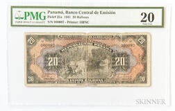 "1941 Panamanian Banco Central de Emision 20 Balboas ""Arias Seven Day Issue,"" Pick-25a, PMG Very Fine 20"