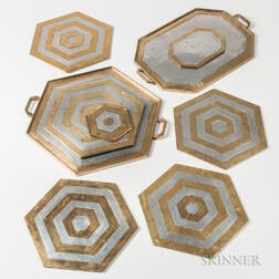 Nine David Marshall Mixed Metal Trays and Trivets