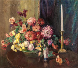 Alice Brown Chittenden (American, 1859-1944)    Floral Still Life with Asian Figurine